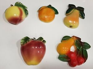 Vintage mid century set of 5 small  Ceramic And Porcelain Fruit Wall plaques