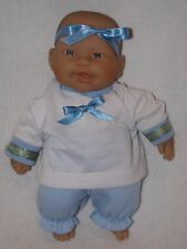 """Sweet 11"""" Berenguer Baby Doll Dressed In Blue & White"""