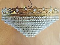 Crystal Chandelier, Ornate Brass, Antique, French/Spanish, 54cm, 9 Tiers, Huge.