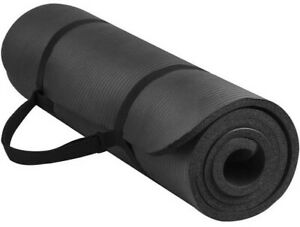 "BalanceFrom Yoga Mat - Black (12mm 1/2"") thick, non-slip, 72"" x 24"" x 1/2"""