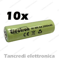 10pz Batteria Stilo AA 2000 mAh mA ricaricabile rechargeable battery Ni-Mh NiMh