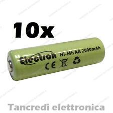 10pz Batteria Stilo AA 2000 mAh mA ricaricabile rechargeable battery Ni-Mh NiMh