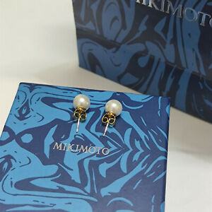 Mikimoto 9mm Akoya White Pearl Stud Earrings in 14k Yellow Gold