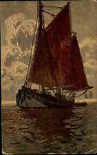 Schiff Segelschiff Ship Vintage Postcard 1929 Künstlerkarte mit Stempel Zürich