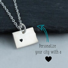 Personalized North Dakota State Necklace -Heart Engraved Near City- 925 Sterling