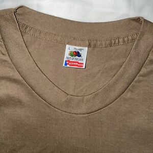 Vintage Fruit of the Loom BROWN LARGE Single Stitch T-Shirt Blank USA Grunge