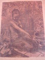 Emebellecedor, Muy Antiguo Cuadro __ Asiático Niña __ Firmado