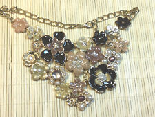 Fashion Necklace NWOT Enamel & Faux Pearl Cast Goldtone Peach Brown Mauve Floral