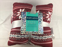 WAYLAND SQUARE JERSEY SHERPA THROW SET BLANKET & PILLOW RED 50 x 60in (J1)
