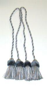 """(2) ADO Rope Curtain Tiebacks w/ Tassels ~ Blue Tan ~ 34"""" L **NEW**"""