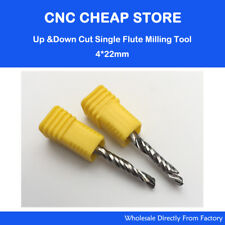 2 HQ Up & Down 4x22MM One Single Flute Spiral Cutter Wood PVC MDF CNC Router Bit
