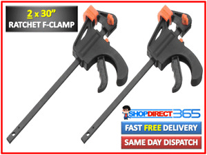 "2 x 760mm 30"" Wood Working Bar F Clamp Clamps Grip Ratchet Quick Release Squeeze"