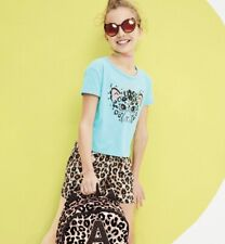 Justice Girl's Size 14-16 CHEETAH Jungle Fun Embellished Boxy Tee New with Tags