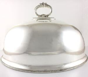 Antique Walker & Hall Large Silver Plated Turkey Meat Dome. Food Cover. c1893
