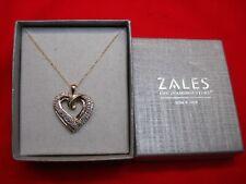 "ZALES 10K 1/2 CTW DIAMOND HEART PENDANT WITH 18"" CHAIN - N.I.B."