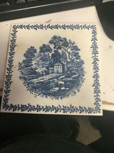 """RICHARD GINORI TILE MADE IN ITALY ANTIQUE BLUE AND WHITE 6"""" X 6"""" EUC"""