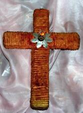 """Vtg 1940S Noma Cross Xmas Light W Flicker Bulb Chenille Ovr Cardboard 13"""""""