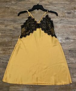 Victoria's secret mustard slip dress Sz S lace details adjustable straps
