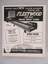 Fleetwood Bowling Alley PRINT AD - 1967 ~~ arcade game; Chicago Coin