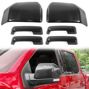 For 2015-2020 Ford F150 Carbon Fiber Look Mirror + 4 Door Handle Covers F-150