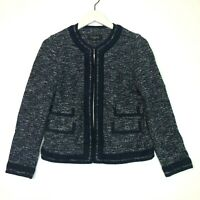 Talbots tweed light weight woven jacket navy blue white size 2p petite