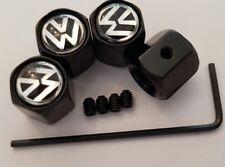 VW Volkswagen Logo black alloy wheel tyre Valve dust Caps 4 lockable anti theft