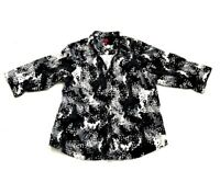 212 Collection Women's Plus 1X Floral Stretch Black Tops Shirt Blouse 3/4 Sleeve