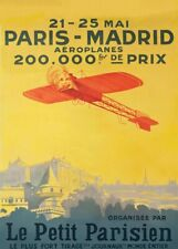 Paris to Madrid Flying Contest, 1911, French Spanish Aviation Travel Poster