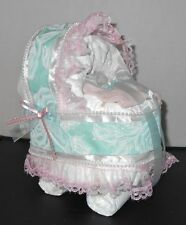Floral Pink Sea Foam Green Diaper Cake Bassinet Baby Shower Gift Centerpiece