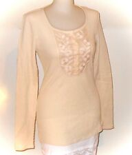 Lucky Brand Beige Thermal Waffle Knit Embroidery Henley Long Sleeve Shirt M