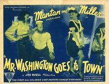 MR. WASHINGTON GOES TO TOWN (1941) Title lobby card Mantan Moreland COLORFUL NF