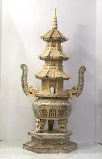 Antique Chinese Carved Bovine Bone Pagoda
