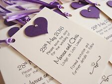 Set of 10 Personalised Handmade Diamanté/Pearl Heart Wedding Save the Date Tags