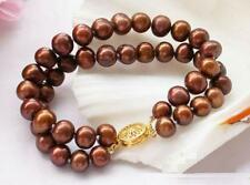 Double strand  AAA 9-10mm south sea chocolate pearl bracelet 7.5-8 inch 14k gold