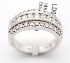 18k White Gold VS2-SI1/G 1.00CT, Pave Round Diamonds Triple Row Band Ring,6.75