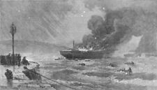 DEVON. American ship Wallace ablaze in Torbay, antique print, 1873