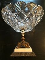 Vint Large Punch Compote Bowl Western Germany Brass Crystal W/Stand Marble Italy