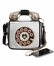 NWT Betsey Johnson Pewter Kitsch Off The Hook Telephone Crossbody Bag BJ73100M