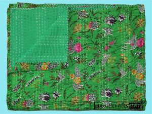 Twin Size Kantha Quilt Green Color Bedspread Cotton Bedcover Hand Stitched Gudri