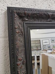 HANDCRAFTED MIRROR ORNATE BLACK FLORAL SHABBY CHIC GOTHIC MANY SIZES SOLID WOOD