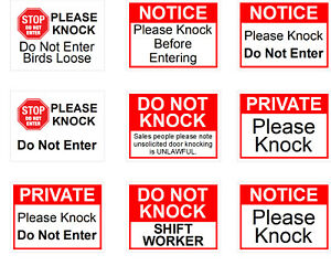 Private please knock Do not knock Weatherproof self-adhesive vinyl sticker 9627