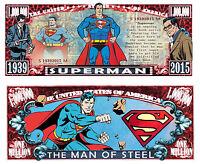 SUPERMAN ! BILLET 1 MILLION DOLLAR US ! Collection Super Heros Comics bd dc logo