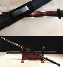 Damascus Folded Steel Rde Handmade Blade Red Chinese Sword Black Accessories