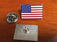 "american flag pin silver usa flag lapel pin hat tack 2 pins 3/4"" wide two pins"