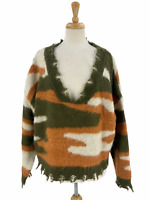Storia Women's Casual Cropped V-Neck Camo Chenille Knit Distressed Sweater Sz L