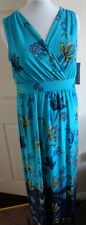 BNWT NINA LEONARD SEXY LONG DRESS SIZE XL 18 20 BLUE MULTI HOLIDAY, CRUISE,PARTY