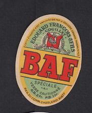 Ancienne petite étiquette Bière Alcool Belgique  BN11389 Baf Edouard François