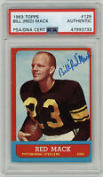 1963 STEELERS Red Mack signed ROOKIE card Topps #125 AUTO RC PSA/DNA Packers