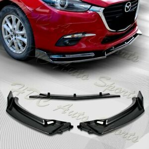 For 2014-2018 Mazda 3 Axela Painted Black Front Bumper Body Kit Spoiler Lip 3PCS