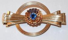 VINTAGE SIGNED HARRY ISKIN ROSE GOLD FILLED 2-TONE BLUE RHINESTONE BROOCH PIN